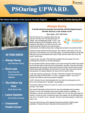 Patient Newsletter of the Corrona Psoriasis Registry Vol 2 | Winter Spring 2017