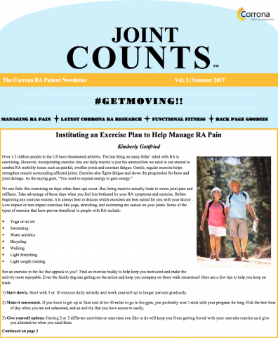 RA Patient Newsletter – Joint Counts Vol 3 | Summer 2017