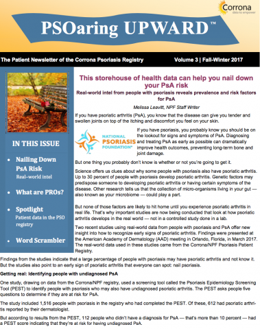 Patient Newsletter of the Corrona Psoriasis Registry Vol 3 | Fall-Winter 2017