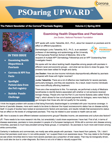 Patient Newsletter of the Corrona Psoriasis Registry Vol 4 | Spring 2018
