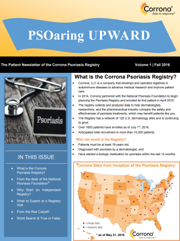 Patient Newsletter of the Corrona Psoriasis Registry Volume 1 | Fall 2016